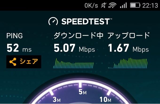 WiMAXマスター3日3GB制限時22時の実際の通信速度実測2