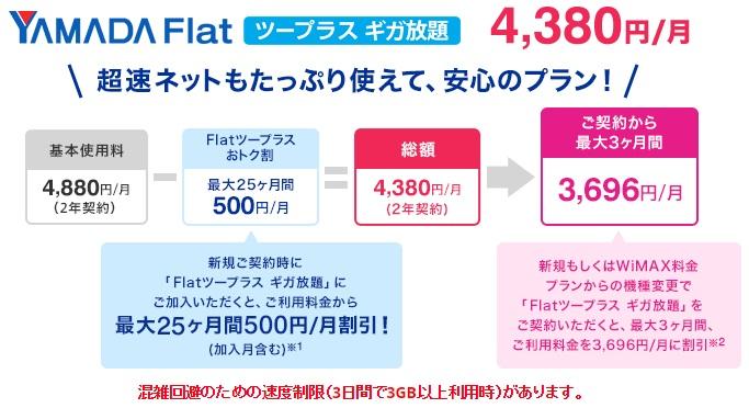 WiMAXマスターヤマダ電機WiMAXギガ放題プランの月額料金