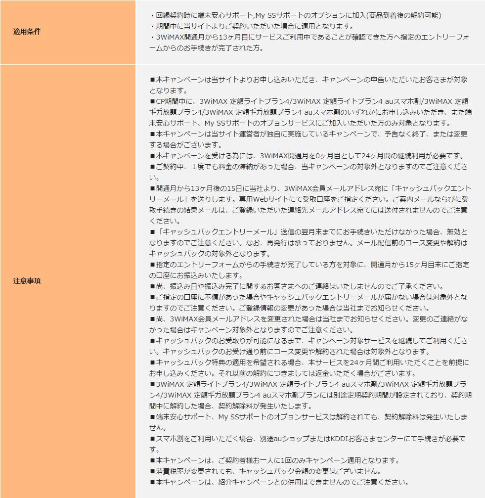 WiMAXマスター3WiMAX2016年3月キャッシュバックキャンペーンの適用条件と注意事項