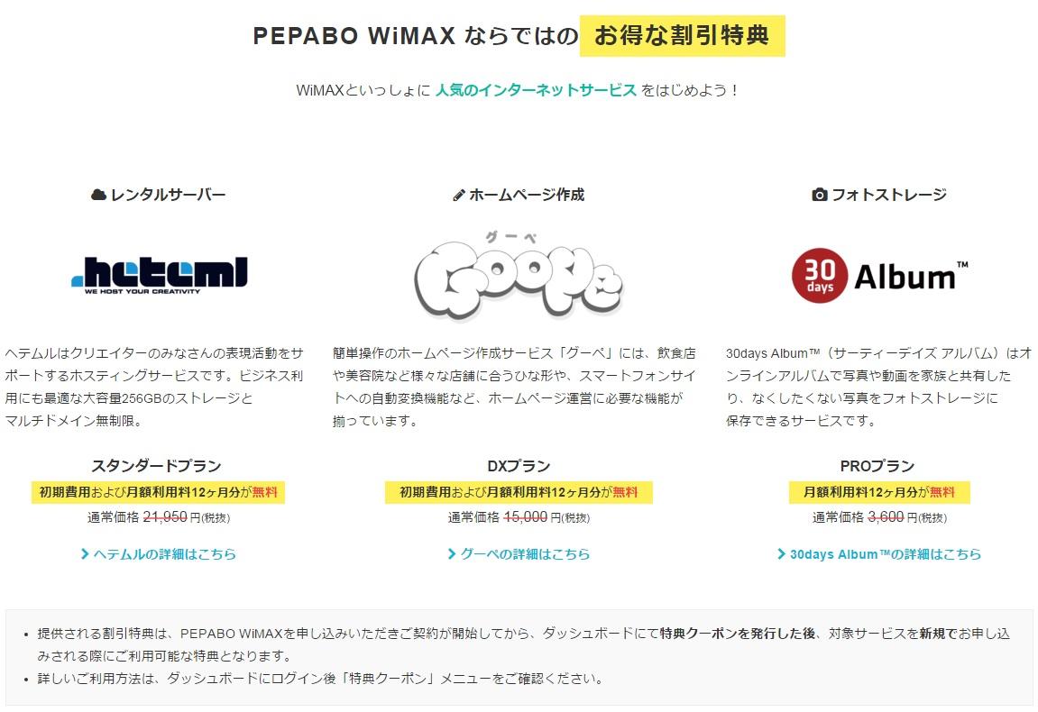 WiMAXマスターぺパボWiMAXレンタルサーバーhetemlへテムルとホームページ作成goopeグーペとフォトストレージ30daysのAlbum