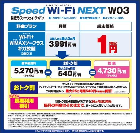 WiMAXマスターヨドバシWiMAX月額料金2016年8月11日