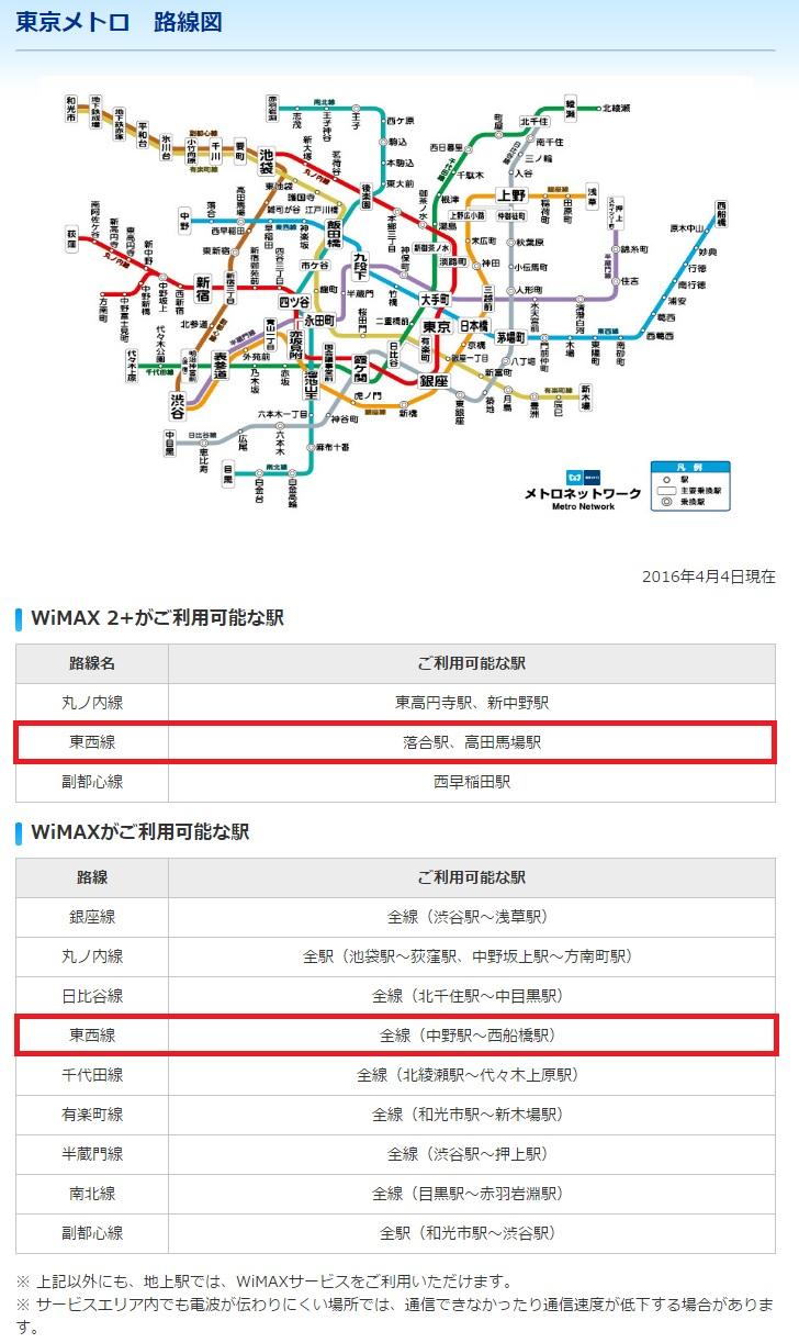 WiMAXマスター移動中の地下鉄で電波は届くのか?つながりにくいのか?東京メトロ東西線