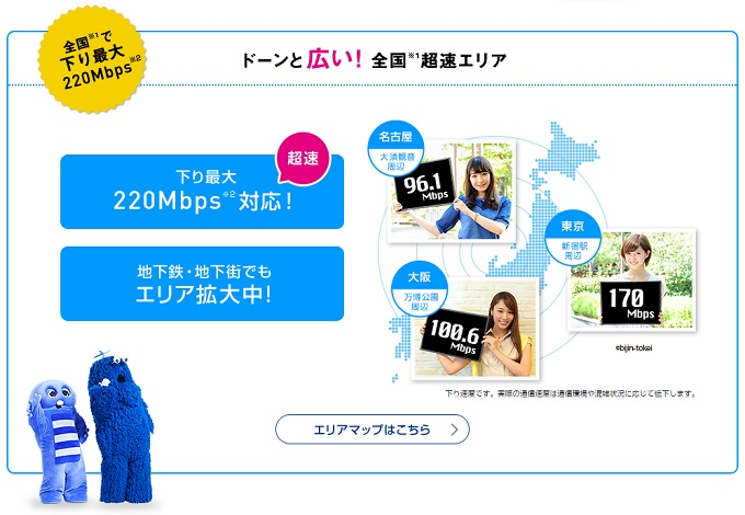 WiMAXマスターWiMAXの通信速度220Mbps